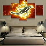 183Tdfc Miami Dolphins Logo Sport 5 Teilig Leinwand Hd Bilder Wandbilder Tapete Gemälde Leinwanddrucke Modern Wohnzimmer Dekoration Geschenk Landschaft Die Stadt Tier Animation