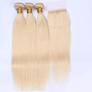 Tony Beauty Hair Russian Blonde Human Hair Weave Bundles 3Pcs with Top Closure Silky Straight Bleach Blonde 4x4 Lace Front Closure Piece with Virgin Hair Wefts Extensions  26 28 30+22