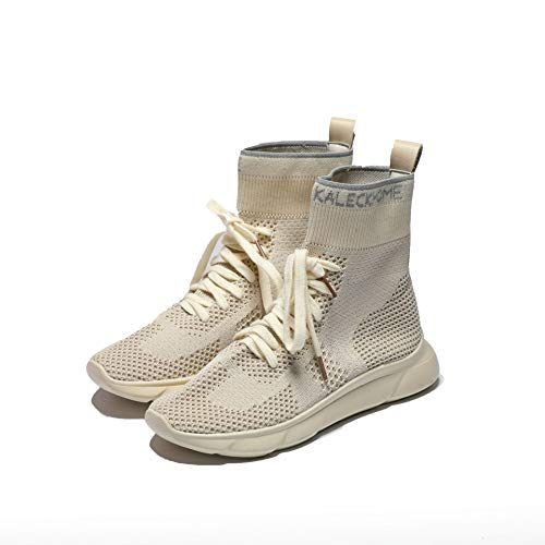 Lucdespo Leisure Sports Women's Shoes Chaussettes Tricotées Haute Slope and Shock Absorbing Lace Short Boots Mesh Respirant Beige.Beige, 39