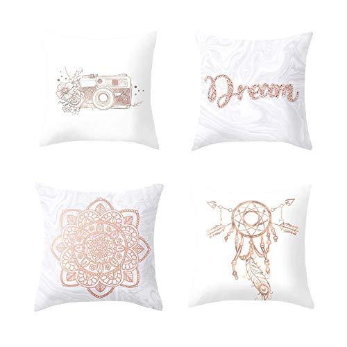 Tokmoon Juego de 4 fundas de almohada geométricas 45 x 45 cm, para sofá, oficina, decoración de cojín de algodón y lino, fundas de almohada decorativas, dormitorio, Color Zu10., 45cm*45cm