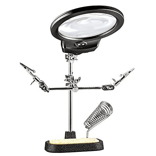 Hi-Spec LED Dritte Hilfe-Handlötstationen Lupenglas (3,5X/ 12X) mit 2 LED-Leuchten, Lötkolbenständer und Reinigungsschwamm Krokodilklemmen für Elektronik-, Hobby- und Bastelprojekte