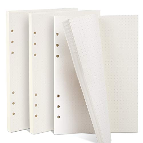 Teenitor 3 Packs Dotted Paper, 135 Sheets/270 Pages A5(21 x 14.2 cm) 6-Ring Refillable Notepaper, A5 Planner Inserts Refills Dots Grid Paper for Filofax Journals Diary Planners Scrapbooks