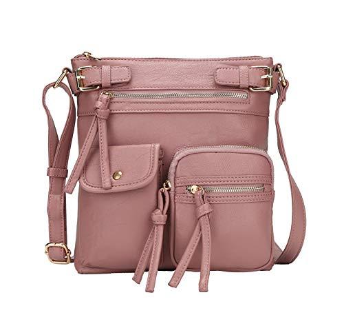 MKF Crossbody Bag for Women: PU Leather Tote Shoulder Bag, Soft Slouchy Handbag Purse, Lady Multi Pocket Pocketbook Dark Rose