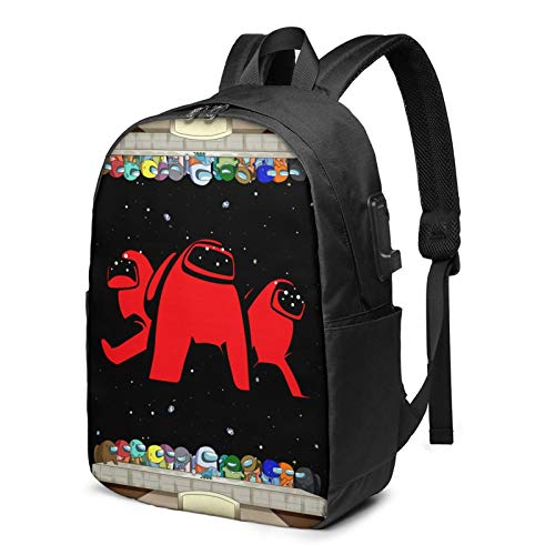 Among Us Backpack, 3D Printed Fashion Travel Laptop School Bag 17in with Usb Port for Boys/Girls/Fan/Teens/Students