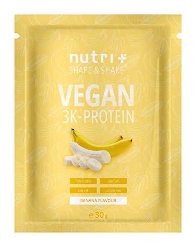 Protein Vegan Banane 30g Probe - 84,1{5b097bf4842190ac85d66458a9c638a74c258f607f8cf15a516eff29c51da36f} Eiweiß - Nutri-Plus Shape & Shake 3k-Proteinpulver - Veganes Eiweißpulver ohne Laktose & Milcheiweiß - Low Fat - Probiergröße