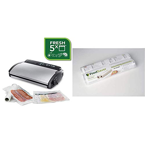 FoodSaver V 2860 Folienschweißgerät/Vakuumierer/Vakuumiergerät + Foodsaver FSR2802-I Vakuum-Rollen 2 Stück 28x550 cm/Folienrollen für Lebensmittel/Vakuumierer/Sous-Vide