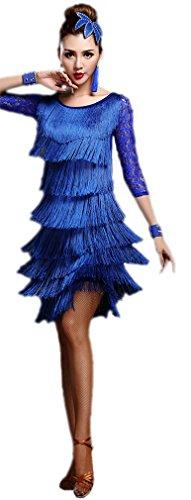 Honeystore 2017 Neuheiten Damen Vielschichtig Quasten Swing Rhythmus Jazz Latein Dance Kleid Blau XL