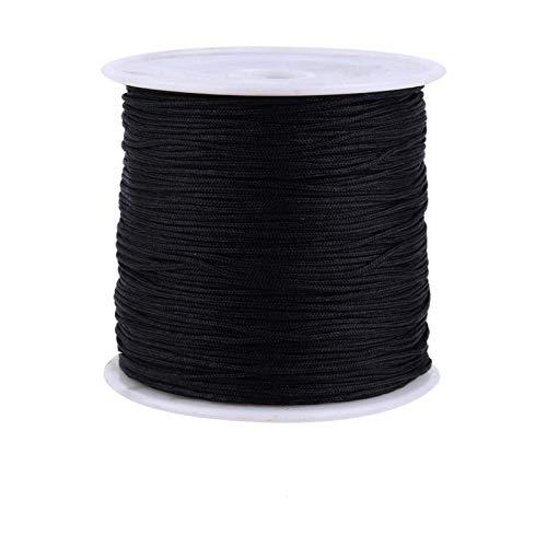 Telituny Cordón de Nudo Chino Knitting-100M x 0.8 mm Nylon Cordón de Nudo Chino Rattail Macrame Hilo de Hilo Negro