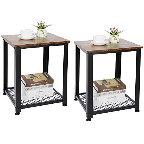 ZENY Set of 2 End Table, Sofa Side Telephone Table with 2-Tier Shelves, Nightstand for Bedroom, Living Room, Rustic Brown
