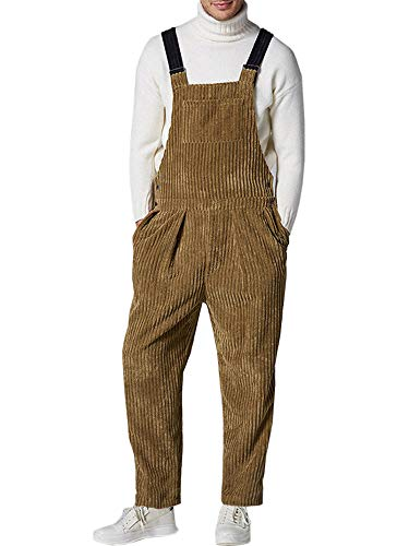 Gemijacka Latzhose Herren Cord-Latzhose mit 5 Taschen Herren Winter Streetwear Retro Corduroy Overall Braun XXL
