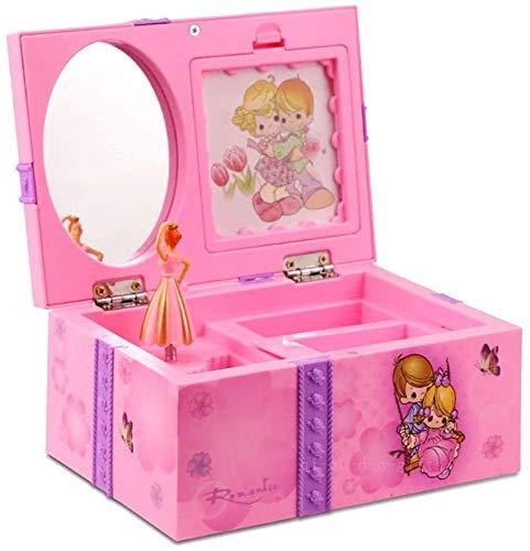 Centeraly Musical Schmuckkästchen, Mädchen Pink Ballerina Kinder Musical Schmuckkästchen Groß Süß Make-Up Aufbewahrung Hülle mit Spiegel - Lila, Purple Swing