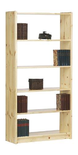 Steens Axel Bücherregal, 4 verstellbare Böden, 84 x 170 x 30 cm (B/H/T), Kiefer massiv, natur lackiert