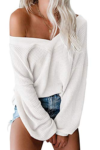 ReachMe Women's Oversized Off Shoulder Pullover Tops Long Sleeve Loose Fit Waffle Knit Tops(White,S)