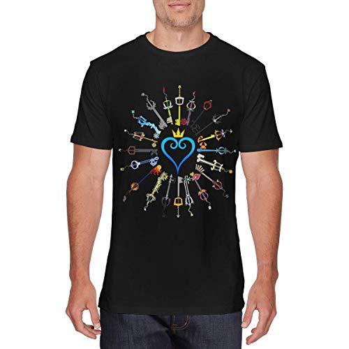 SOTTK Camisetas y Tops Hombre Polos y Camisas, Mens Funny Kingdom Hearts T Shirt Black