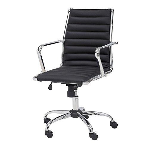 Cribel Pandora Chefsessel Sessel, Metall verchromt, Kunstleder 57x60x101 cm schwarz