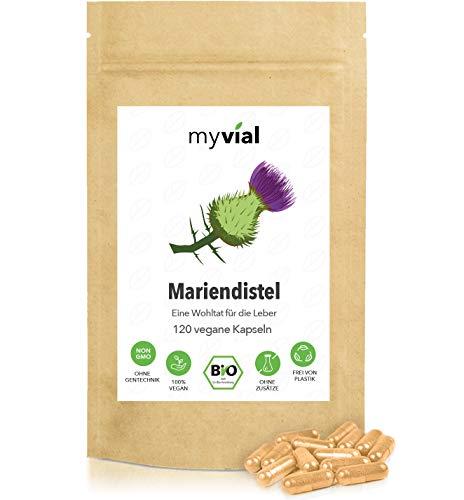 myvial® Mariendistel Kapseln Bio 120 Stück | 60-Tage-Vorrat | 400mg Bio Mariendistel Pulver pro Kapsel | ohne Magnesiumstearat | vegan | hergestellt aus den Samen der Pflanze