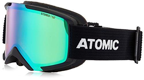 Atomic Unisex All Mountain-Skibrille Savor M Stereo OTG, für Brillenträger, für mäßige Lichtverhältnisse, Medium Fit, Live Fit-Rahmen, schwarz/grün, AN5105514
