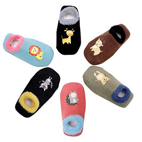 Estwell 6 Paare Babysocken Dick Warm Baumwolle Babysöckchen Kindersocken Anti Rutsch Niedlich Tier Socken für Baby Jungen Mädchen