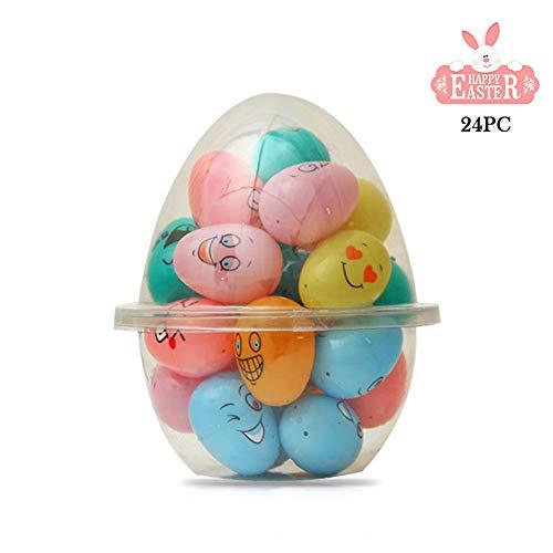 Treer Pasqua Uova Sorpresa Decorazione, 1pc di Pasqua a Motivi Uovo Coniglietto Giardino Diversi Colori Decorazione Artigianato Scatola Rotonda di plastica (16.8cm*20.5cm,Uovo Aperto)