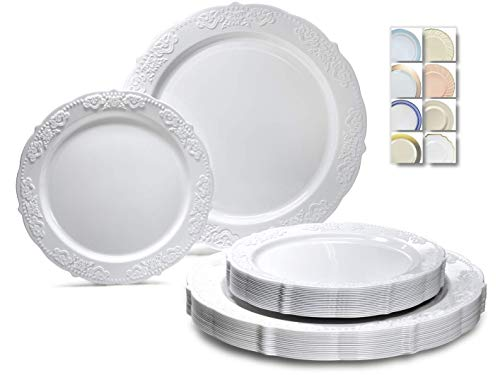 ' OCCASIONS ' 240 Plates Pack,(120 Guests) Vintage Wedding Party Disposable Plastic Plates Set -120 x 10.25'' Dinner + 120 x 7.5'' Salad / Dessert Plate (Portofino Plain White)