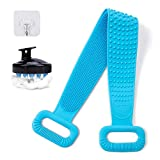 2 Pcs Silicone Back Scrubber for Shower with Hair Scalp Massager, Whole Body Cleaning Set, Deep Clean Bath Body Brush Soft Silicone Bristles Massaging Exfoliator for Women and Men(Blue+Blue/Black)