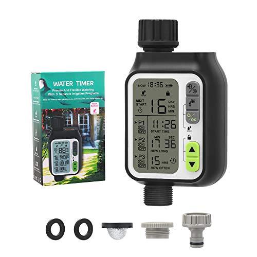 Tunume Temporizador de riego, ordenador de riego, 3 programas de riego, sensor de lluvia, modo de seguridad infantil, pantalla LCD de 3 pulgadas, temporizador de aspersión