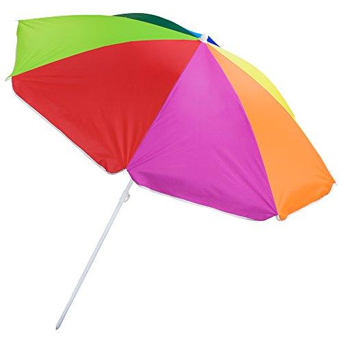 Sol Coastal 6-Foot Rainbow Beach and Patio Umbrella with Adjustable Height
