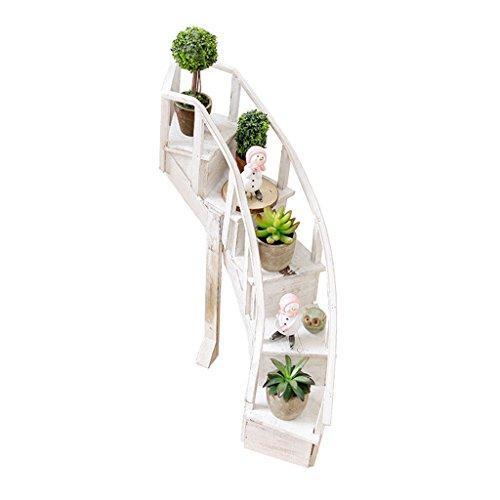 Ali@ Rustique Log Escaliers Petite Fleur Stand Balcon Extérieur Petits Cadres Décoratifs Pays d'Amérique Photographie Props