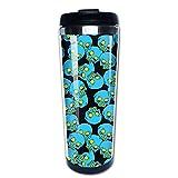 Taza de café de Acero Inoxidable Taza de café Reutilizable Adecuada para Viajes y Trabajo al Aire Libre Taza Tazas,Calavera azul