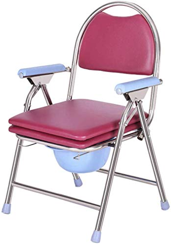 BBG Beweglich Faltbare Durablefolding Potty Wc Stuhl, Mobil Commode, Wc, Dusche Toilettenstuhl, Mit Abnehmbarem, Gepolstertem Sitz Und Potty,Rosa-C