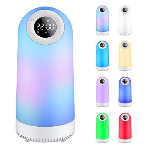 Nachtlicht Bluetooth-Lautsprecher, Touch Nachttischlampe Licht mit Wecker FM-Radio Dimmbares warmes Licht & 8 Farbwechsel tragbare Lampe für Schlafzimmer Wohnzimmer Camping Geschenk für Frauen Kinder