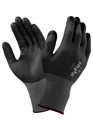 Ansell HyFlex 11-840 Gants de Travail Multi Usages 12 paires Gant de Protection M/écanique R/ésistant /à l/'Abrasion Gris Noir Taille 6
