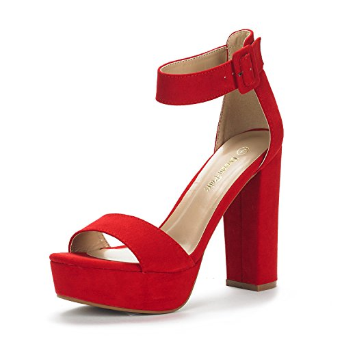 DREAM PAIRS Women's Hi-Lo Red Suede High Heel Platform Pump Sandals - 7.5 M US