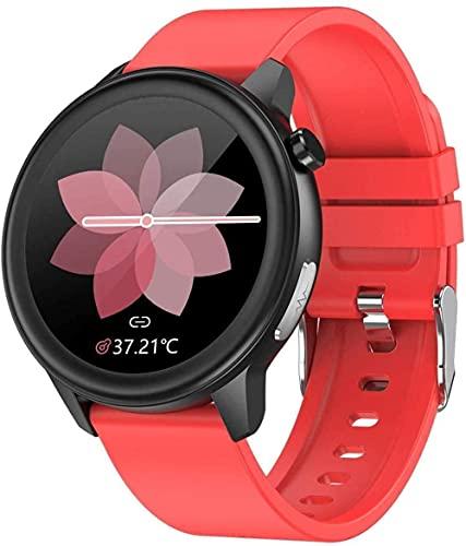 HUYAYUN Reloj Inteligente, Negocios Pantalla a Color de 1.3 Pulgadas Ip68 Información a Prueba de Agua Recordatorio de Llamadas Pulsera multideportiva Moda Rojo Exquisito/Negro
