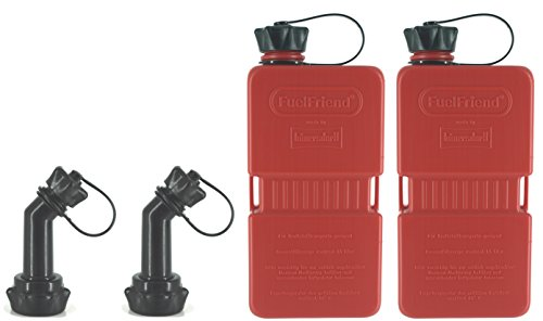FuelFriend®-Plus 1,5 Liter - Klein-Benzinkanister Mini-Reservekanister + verschließbares Auslaufrohr - im Doppelpack