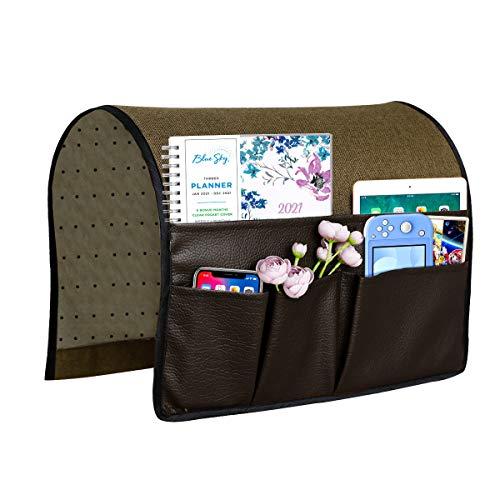 Joywell Leder & Leinen Sofa Armlehne Organizer Couch Sessel Caddy mit 4 Taschen für Zeitschriften, Bücher, TV-Fernbedienung, Handy, iPad, Dunkelbraun