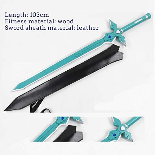 Vokaer Sword Art Online Kirito Negro Espada intérprete Blanca Espada del Cazador de la Oscuridad la luz Que Destella Asuna COS Arma Espada de Madera (con la Funda),C