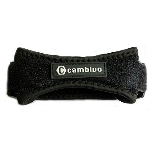 CAMBIVO Patella Knee Strap, Adjustable Knee Brace Patellar Tendon Support Band for Running, Hiking, Volleyball, Jumpers Knee, 2pack (Black)