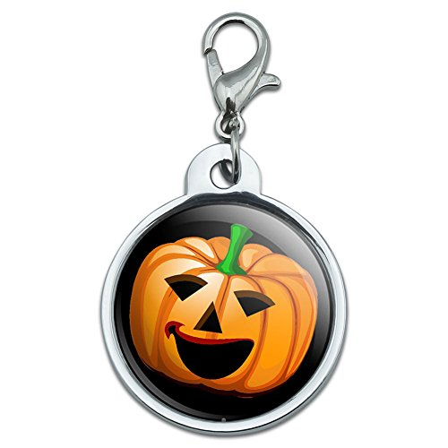 Graphics and More Chrome Plated Metal Small Pet ID Dog Cat Tag Holidays Christmas Halloween - Jack-o-Lantern - Pumpkin - Halloween