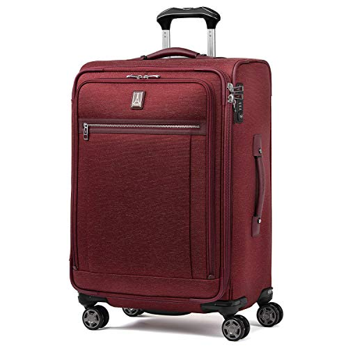 Travelpro Platinum Elite-Softside Expandable Spinner Wheel Luggage, Bordeaux, Checked-Medium 25-Inch