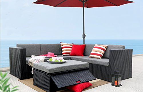 Baner Garden -BL 4 Pieces L Shaped Outdoor Furniture Patio Sectional Wicker Rattan Garden Corner Sofa Couch Set, Full, Black