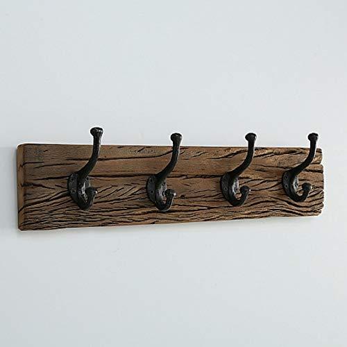 CasaJame Hogar Muebles Entrada Pasillo Perchero de Pared con 4 Ganchos de Metal en Estilo Rústico 56 x 15 cm.