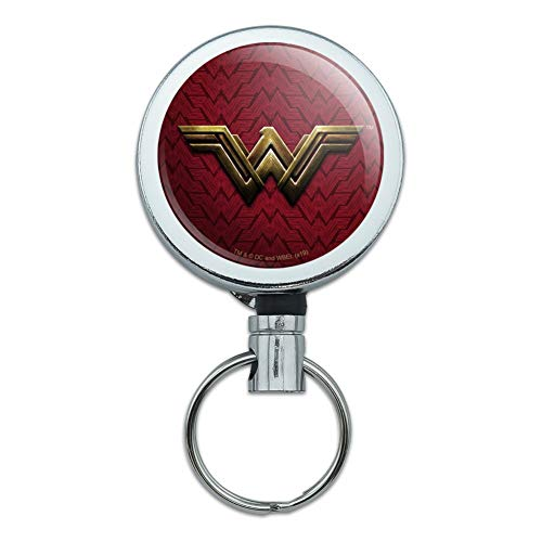 Justice League Movie Wonder Woman Logo Heavy Duty Metal Retractable Reel ID Badge Key Card Tag Holder with Belt Clip