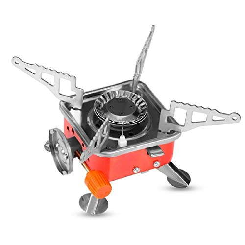 Royal Peafowl Generic Outdoor Portable Square-Shaped Gas Butane Burner Camping Picnic Stove (Multicolour),Stainless Steel