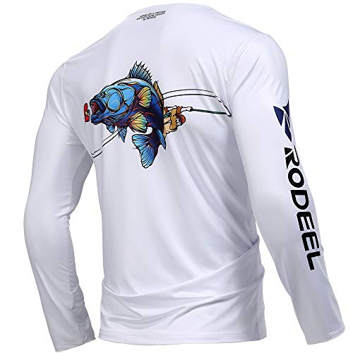 Rodeel Premium Fishing Shirt with +50 UPF Sun Protection Breathable Long Sleeve Shirt for Men Size:XL SEA BASS
