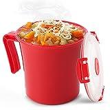 Tafura Microwave Soup Mug with Lid and Handle. Microwavable Oatmeal Cereal Cup...