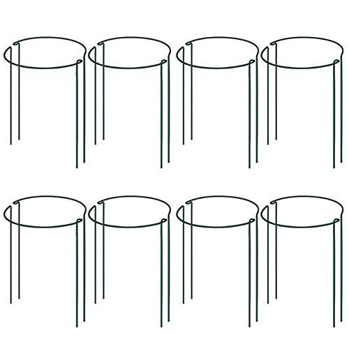 Fransande Pflanzenstützstab aus Metall, halbrund, 8 Stück, für den Garten, grüne Pflanzenstütze, Gartenpflanzen-Stützring, Gartenumrandung