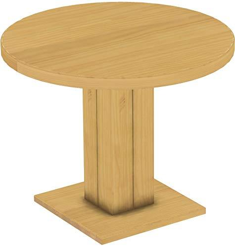 Brasilmöbel Säulentisch Rio UNO Rund 100 cm Eiche hell Tisch Esstisch Pinie Massivholz Esszimmertisch Holz Küchentisch Echtholz Größe und Farbe wählbar