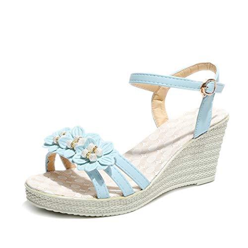 Summer Damen Bohemia High Heels Sandalen Mit Keilabsatz Sweet Floral Open Toe Muffin Schuhe Platform Ankle Buckle Strap Beach Pumps