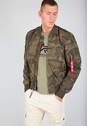 ALPHA INDUSTRIES Herren MA-1 TT, Olive Camouflage, S